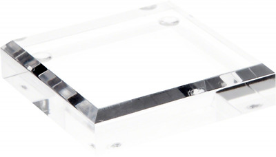 """Plymor Brand Clear Acrylic Square Beveled Display Base, .75"""" H x 3"""" W x 3"""" D"""