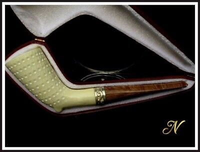 Lattice Stallion Horn Meerschaum Pipe Special Built w/out Screw Silver Ring 2911