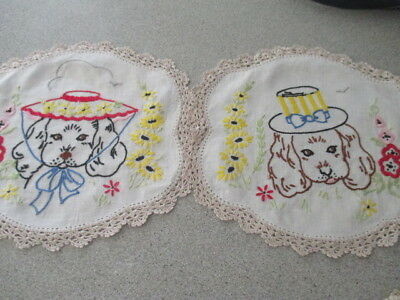 Vintage Retro Hand Embroidered Doilies.Trio of Doubles. Koalas, Dogs, Swans. WOW