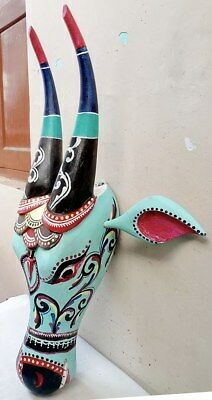 Nandi Colorful Hand Carved Wall Hanging Sculpture Cow Bull Mask Wooden Statue