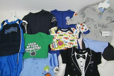 Lot of 11 Baby Boy 6-9 Month Winter Fall Christmas Clothes PJs Sleepers Pants