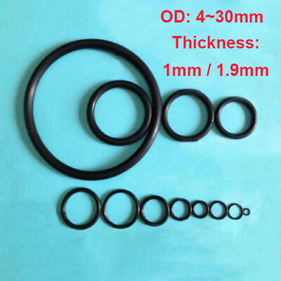 4~30mm Oil Resistant Seal Washers NBR Rubber Black O-Ring  Mechanical 1mm 1.9mm