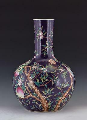 A Large and Important Chinese Purple-Ground Famille Rose Porcelain Vase, Marked.