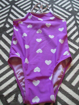 Girls Sz 4T OLD NAVY SWIMSUIT Purple White Hearts Some wear on front/back 1 pc