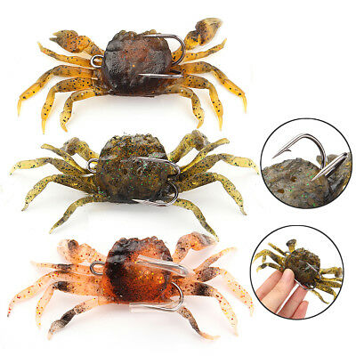 10cm Saltwater 3D Manic Crab Lures Bass Wrasse Cod Sea Fishing Hook Tackle Bait
