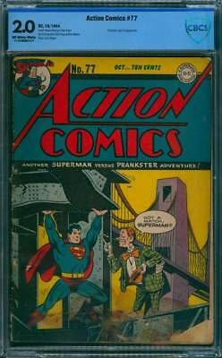 Action Comics # 77  Got a Match, Superman ?  CBCS 2.0 rare Golden Age book !