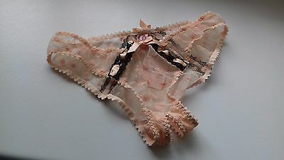 Agent Provocateur Peach Black Angharad Ouvert Open Brief Size Medium Uk10-12 Nwt