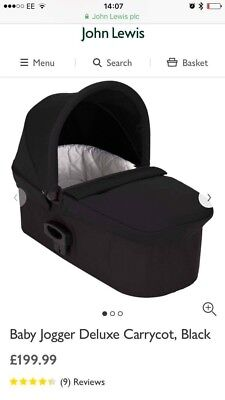 Baby Jogger Deluxe Carrycot Black RRP £199.99 Collect Swindon