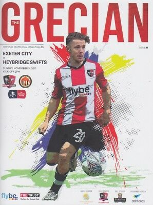 EXETER v HEYBRIDGE SWIFTS 2017/18 FA CUP MINT PROGRAMME PLUS FREE TEAMSHEET