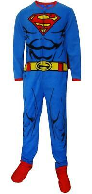 New Men's Superman Fleece Pajamas Union Suit One Piece with Cape Size Small