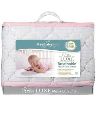 BreathableBaby Ultra Luxe Mesh Crib Liner, White/Pink Girl Boy