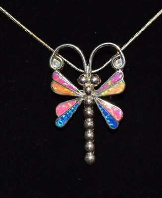 Dragonfly Necklace Pin Multi Stone Opal Sterling Silver Native American Zuni