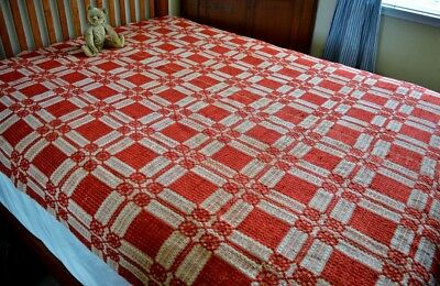 Antique 19th century American Coverlet Patriotic Red *