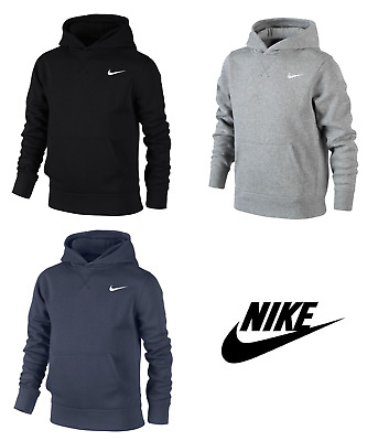 Nike Boys Swoosh Junior Fleece Hoodie Hoody Sweatshirt Sweater Hooded Top