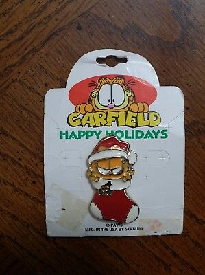 Garfield Christmas Double Push Pin Enamel Front Brooch Pin Starline New USA