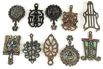 Vintage Small Size Cast Iron Trivet Lot#2 of 10pc Mixed Manufacture