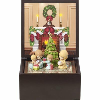 Precious Moments Heirloom Family Christmas Deluxe LED Lighted Music Box Set