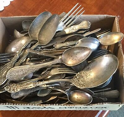 10 Lbs 113 Pcs Mixed Lot Of Antique Silver plate Flatware Scrap Or Use
