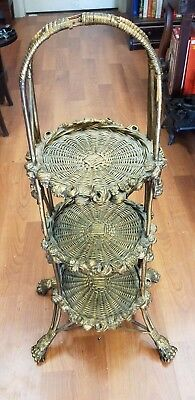 Antique Victorian Reed Wicker Plant Stand  Circa 1880's Gold/Ornate/Claw feet!