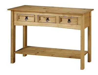 Corona 3 Drawer Console Table Mexican Solid Pine Hallway by Mercers Furniture®
