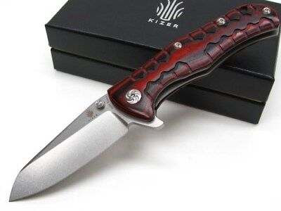 KIZER CUTLERY Red Black G-10 Straight Folding S35VN FRAMELOCK Knife New! KI405