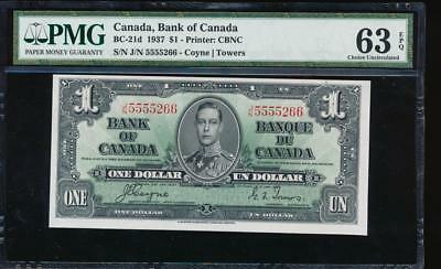 AC BC-21d Bank of Canada 1937 $1 PMG 63 EPQ J/N block