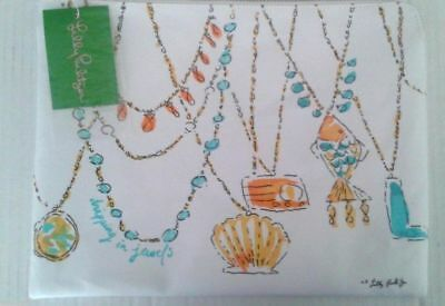 """NWT!! Lilly Pulitzer Pick-Me-Up Canvas Pouch """"Dripping In Jewelry"""", Resort White"""