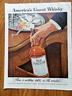 1954 Old Forester Kentucky Whiskey Ad America's Guest Whisky