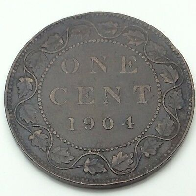 1904 Canada Copper One Large Cent Penny Circulated Canadian Coin C229