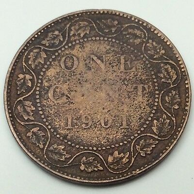 1901 Canada Cleaned Copper One Large Cent Penny Circulated Canadian Coin C210