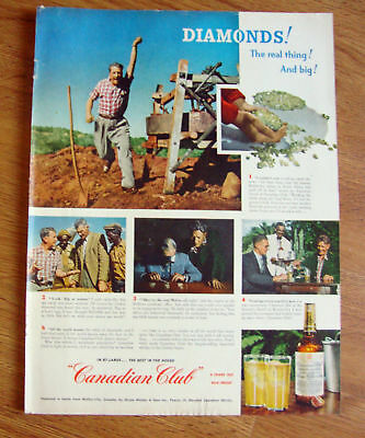 1951 Canadian Club Whiskey Ad Diamonds Vaal River in South Africa