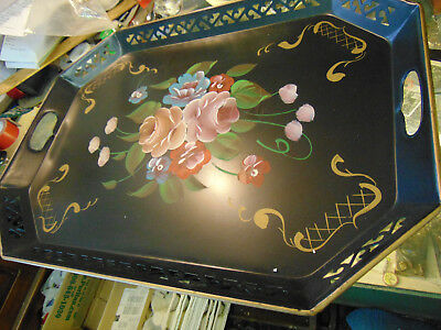 PRETTY!  Toleware Tole Ware Tray Floral Flowers Hand Painted 22 x 19 inches