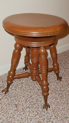 Antique Light Stain Walnut Glass Ball & ClawFeet Piano Stool Swivel Seat by TONK