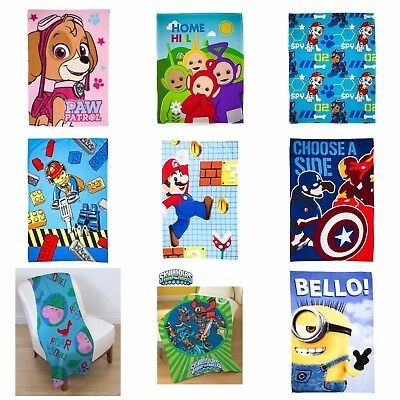 Kids Official Character Novelty Super Soft Fleece Bed Throw Blanket Boys/Girls