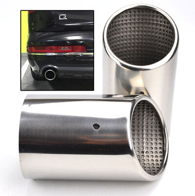 2Pc For Audi Q7 Car Exhaust Tailpipe Tail Pipe Tip Muffler End Trim Chrome Cover