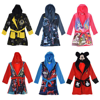 Boys Girls Bath Robe Dressing Gown Kids Official Star Wars Avengers Paw Patrol