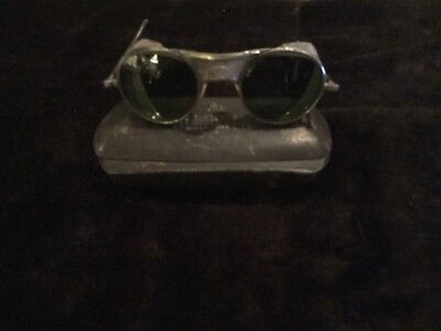 Vintage silver Bausch & Lomb Motorcycle Mesh Safety Glasses Metal Case Steampunk