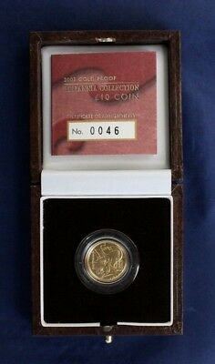 2003 Gold Proof 1/10oz £10 Britannia coin in Case with COA   (G5/1)