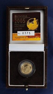 2005 Gold Proof 1/10oz £10 Britannia coin in Case with COA   (G5/2)