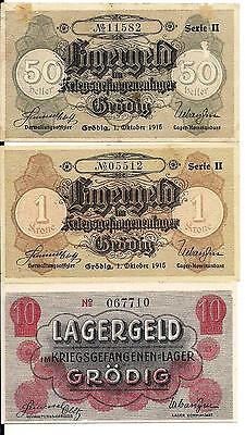 AUSTRIA POW LAGERGELD GRODIG bei SALZBURG. Lot of 3 different for Russian POW