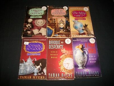 Lot of 6 Books by Tamar Myers, Den of Antiquity Mysteries 1-5, 7