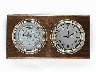 Traditional Barometer And Roman Numeral Clock And Double English Oak Mount