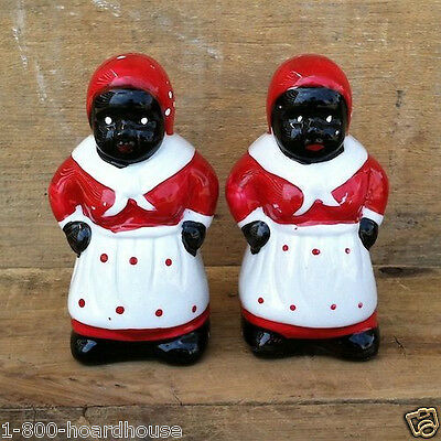 New AUNT JEMIMA BLACK AMERICANA MAID Salt Pepper Shaker CERAMIC SHAKERS Set NIB