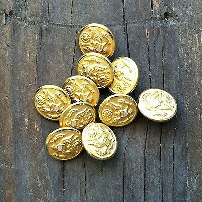 10 Vintage Original Brass ARMY Gold Plated Buttons NOS Unused 1940s Old Stock