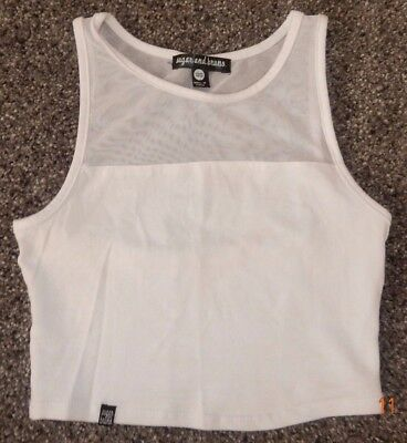 Youth One Size Fits Most--Sugar & Bruno Brand Crop Length White Dance Top--Mesh