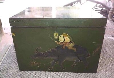 Antique Export Tea Chest Caddy Box Chinese Yak Man Scene Key Lacquer