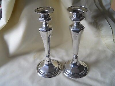 """Pair Birmingham Sterling Silver Candle Holders Candle Sticks 8.75"""""""