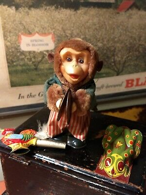 vintage lot of tin litho toys wind up monkey cymbals toy antique