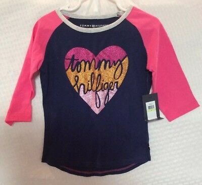 NEW Tommy Hilfiger Baby Toddler Girls 3/4 Sleeve Sparkly Shirt Size 4T  Multi