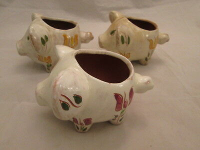 3 Stangl Early 1940s #1706C Pig Cactus Pots Yellow & Rose Tulips